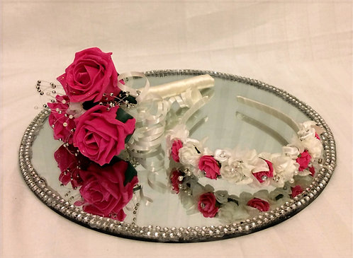 Artificial flower wand and matching headband, Flower girls
