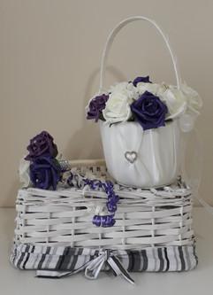 purple & ivory flower girl satin basket - foam flowers