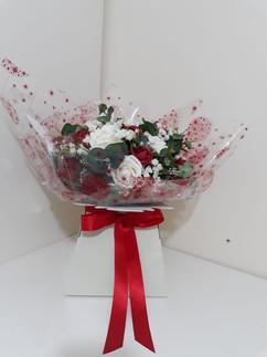 red & ivory box bouquet - foam flowers