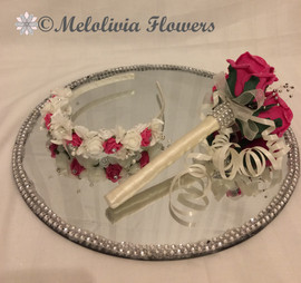 hot pink & ivory headband and flower wand - foam flowers