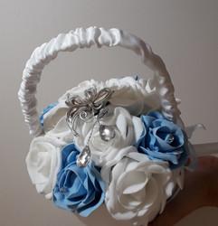 light blue & white flower girl satin basket - foam flowers
