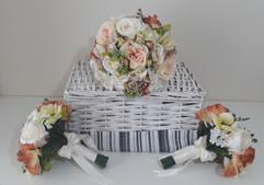 peach bouquets - silk flowers