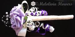 lilac, ivory & purple flower girl wand - foam flowers