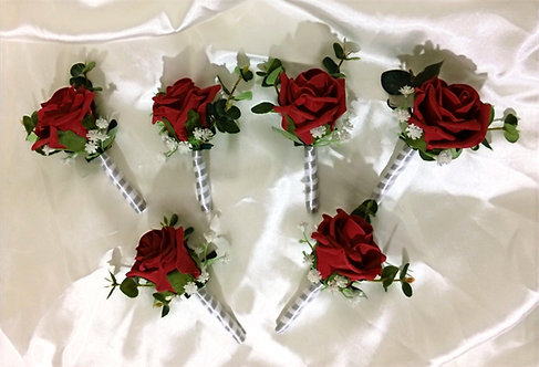 Artificial rose buttonholes with ribbon stem (pack of 6)