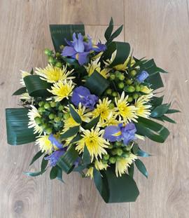 yellow chrysanthemum & iris bouquet - fresh flowers