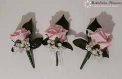 pink buttonholes/corsages - foam flowers