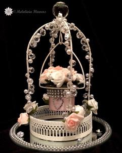 pink & white swinging lantern - foam flowers