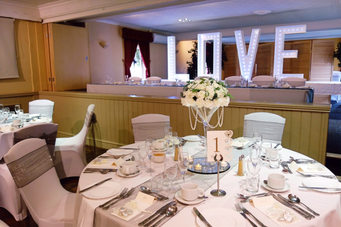 White and silver wedding breakfast
