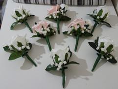 pink & white buttonholes/corsages - foam flowers