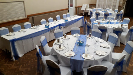White and royal blue wedding breakfast/reception.