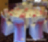 flowers chair covers and table centrepieces