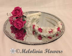 hot pink & ivory flower girl wand and headband - foam flowers