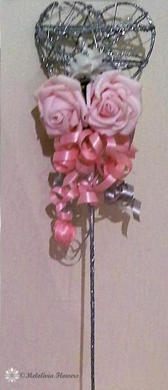pink flower girl metal wand - foam flowers