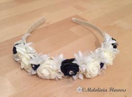 navy & white headband - foam flowers