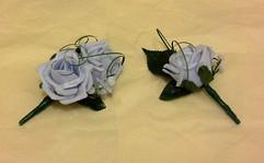 blue buttonholes/corsages - foam flowers