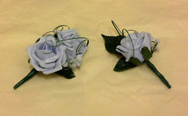 blue buttonholes/corsages - foam flowers