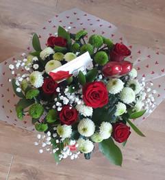 red roses, gyp & chrysanthemum bouquet - fresh flowers