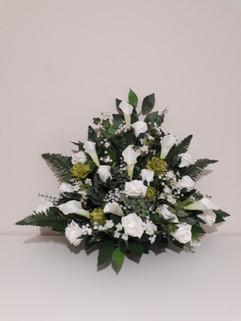 ivory church pedestal arrangement - foam flowers