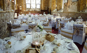 White and Hessian, Rustic wedding breakfast/reception