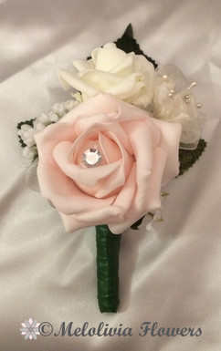 pink & ivory buttonhole/corsage - foam flowers