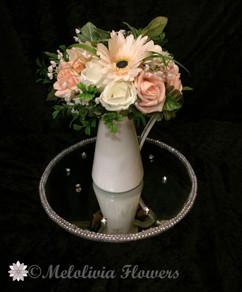 peach flowers in vase - foam flowers