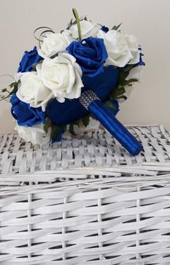 blue & white bouquet with blue ribbon underside - foam flowers