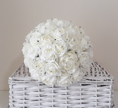 ivory bouquet with diamantes - foam flowers