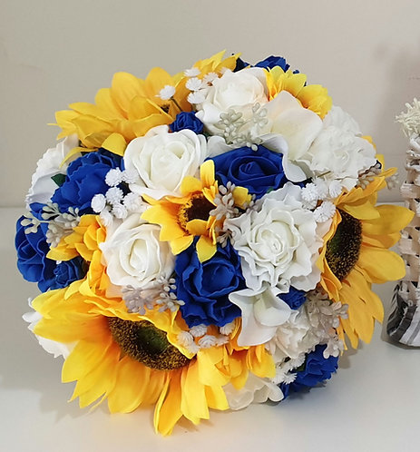 """Artificial bouquet with sunflowers and mixed foam flowers (9"""")"""