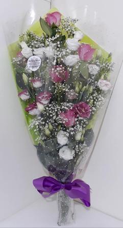 pink & purple cone wrap bouquet - fresh flowers