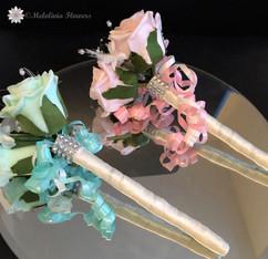 ivory, mint & pink flower girl wands - foam flowers