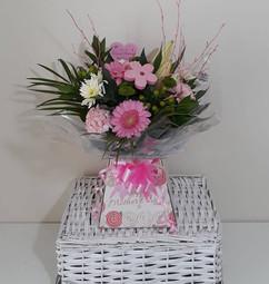 pink germini & chrysanthemum box bouquet - fresh flowers
