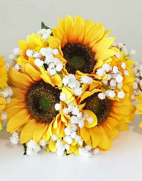 """Artificial bouquet with silk sunflowers and gyp (8"""" wide)"""