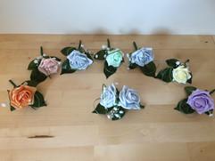 blue, lilac, mint, yellow, pink, tangerine buttonholes/corsages - foam flowers