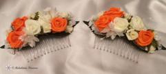 orange & ivory hair combs - foam flowers