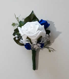 ivory & royal blue buttonhole/corsage - foam flowers