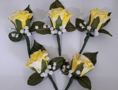 yellow buttonholes/corsages - foam flowers