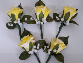 yellow buttonholes/corsages - foam flowers