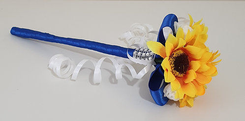 Artificial sunflowers and mini roses flower wand