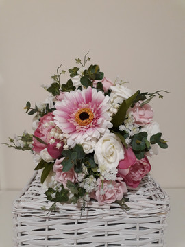pink & ivory bouquet - silk and foam flowers