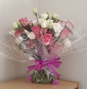 Melolivia Flowers - pink & white lisianthus - fresh flowers
