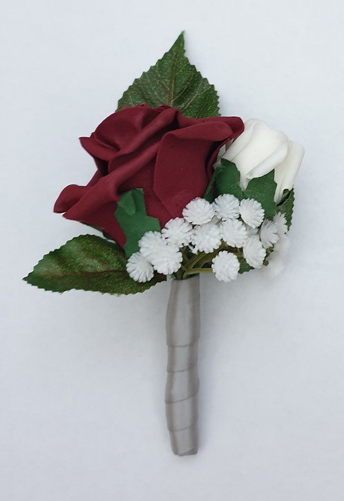 Artificial double rose buttonhole with ribbon stem