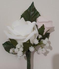 white & pink double buttonhole/corsage - foam flowers