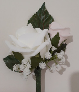 white & pink double buttonhole/corsage - foam flowers