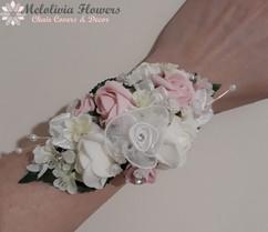pink & ivory wrist corsage - foam flowers