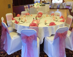 White and pink wedding breakfast