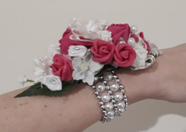 hot pink & ivory wrist corsage with elasticated bracelet - foam flowers