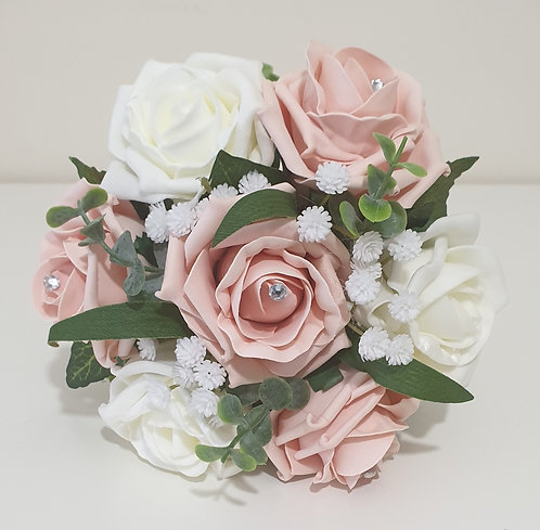 Artificial posy bouquet with roses, greenery and diamanté gems