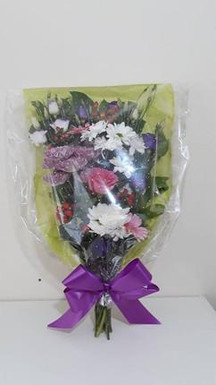 purple & ivory flat bouquet - fresh flowers