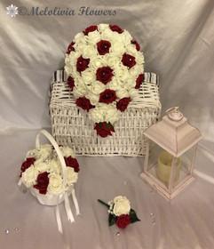 ruby red & ivory bouquet - foam flowers