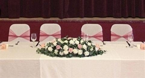 White and raspberry wedding breakfast
